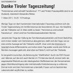 """Ausschnitt des Kommentars """"Danke Tiroler Tageszeitung!"""""""