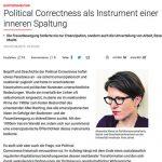 """Ausschnitt aus dem Kommentar """"Political Correctness als Instrument einer inneren Spaltung"""""""
